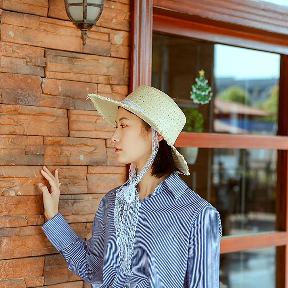 Women Summer Straw Hat Wide Brim Lace Ribbon Decor Simple Casual Beach Holiday Sunshade Hats H9