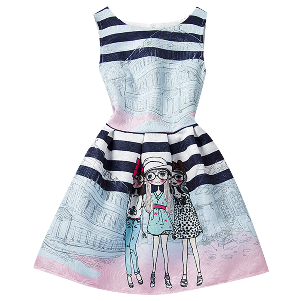 Summer sweet Graffiti cartoon Girl Dress Print Girl Sleeveless Childlike Baby Girl Clothes Princess Dress Kids