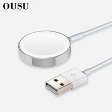 OUSU QI Беспроводное зарядное устройство для apple watch магнитное зарядное устройство для iwatch 1 2 3 4 cargador с usb-кабелем 1 м быстрозарядная станция