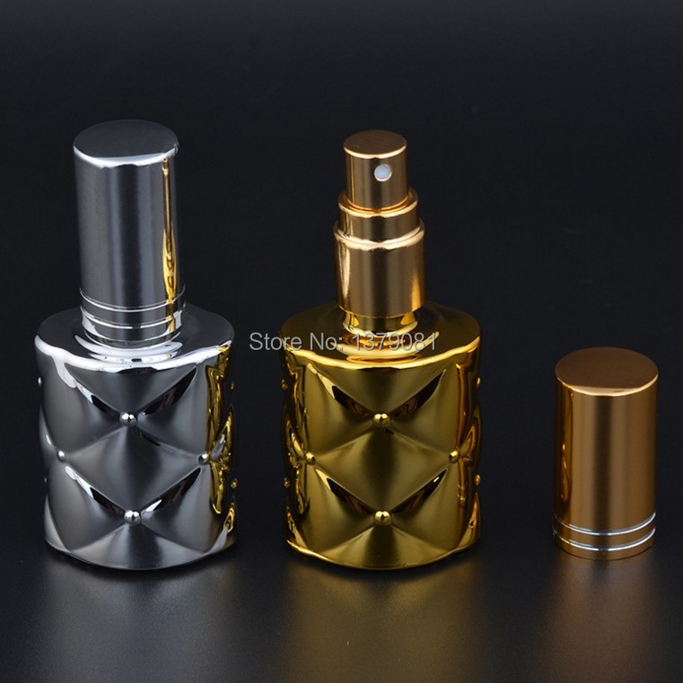 10ml Gold Silver Glass Perfume Bottles Empty Spray bottle Atomizer Cosmetic Refillable containers