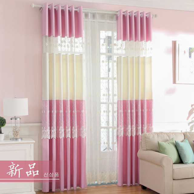 Pink Lace Princess Room Window Curtains Embroidery Girl Sheer ...