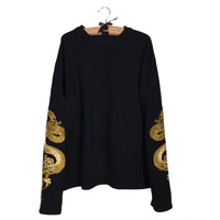 Lychee Harajuku Punk Gothic Women Sweatshirt Dragon Embroidery Casaual Loose Long Sleeve Pullover Tracksuit