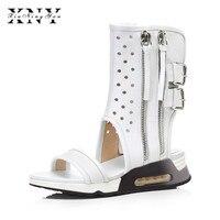 XIUNINGYAN Women Sandals Summer Sexy Med Heels Sandals For Women Shoe Sandals Gladiator Boots 34 40 Open Toe Women Summer Shoes
