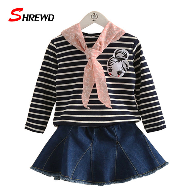 Baby Clothing Set Girl New Autumn Casual Striped Girls Sets 2016 Long Sleeve Tops+Solid Denim Skirt Children Clothing 4153W