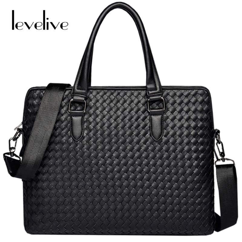 Best buy LEVELIVE Men s Genuine Leather Handbag Men Weave Cow Leather  Briefcase Famous Brand Male Laptop Shoulder Crossbody Bags Man Bag online  cheap bd1916af0fa68