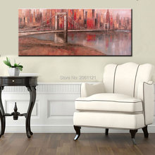 Hand Painted red LARGE Wall Art New York Brooklyn Bridge Canvas Painting Modern wall Picture For living room Home Decoration