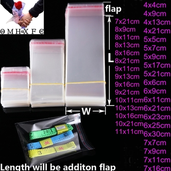 OMH 100pc Transparent Self Sealing Plastic Gift  Packaging Adhesive Resealable Cellophane Poly OPP Bag Baggie BZ01