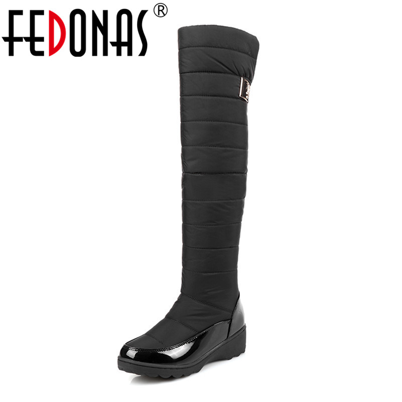 FEDONAS New Russia Keep Warm Long Snow Boots Women Fashion Platforms Fur Over The Knee Boots Warm Winter Boots Shoes Woman fashion keep warm winter women boots snow boots 2017 buckle cotton boots women boots shoes