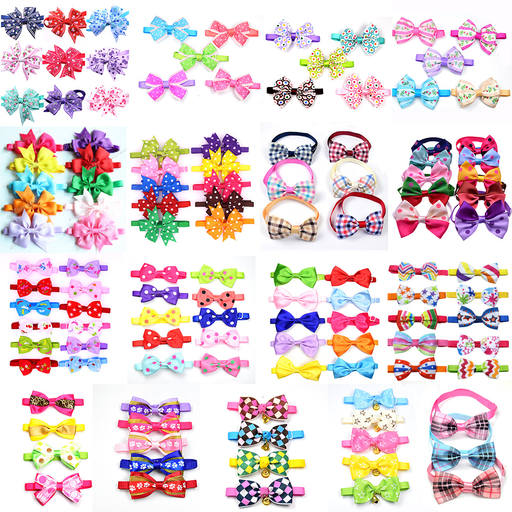 120pcs Valentine's Day Pet Puppy Dog Cat Bow Ties/Bowties