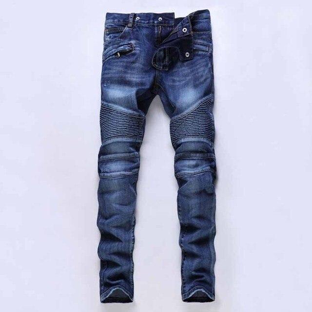 Plus Size Diseñador Mens Biker Jeans Hombres Azules Elásticos Rasgados moto  de alta calidad caliente del bec38db47aca
