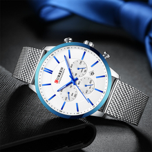 Men's Fashion Business Watches Casual Waterproof Quartz Wristwatch Blue