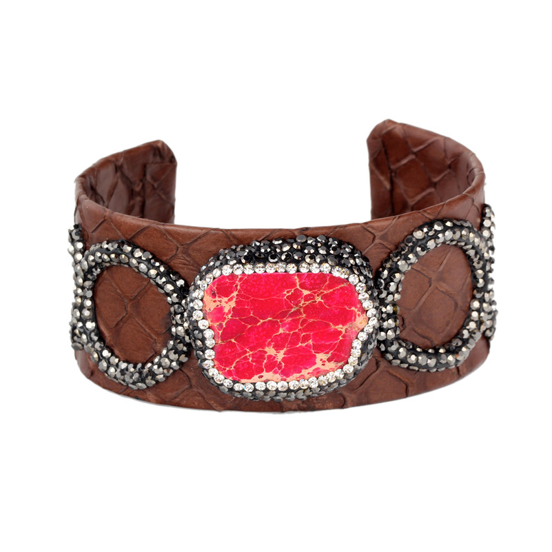 7dba1476f2e Mixed Color Snake Leather Wide Cuff Bangle/Bracelet Charms Fossil Jewelry  Fashion Female Luxury Leather Bangle for Party-in Bangles from Jewelry ...