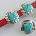 5pcs 10*7mm Square Style Turquoise Red Turquoise For Licorice Leather Cord, Leather Wrap Bracelet, Bracelet Connector