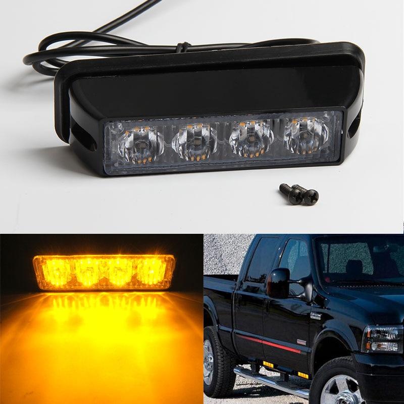 high power 4 led car emergency beacon warning light bar 12v 24v led strobe flash light universal. Black Bedroom Furniture Sets. Home Design Ideas