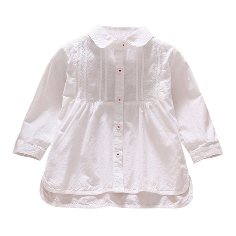Kids Baby Girls Turn-down Collar   Shirt   Casual Long Sleeve   Blouse     Shirts   Solid Colors Tops 1-6Y Newest