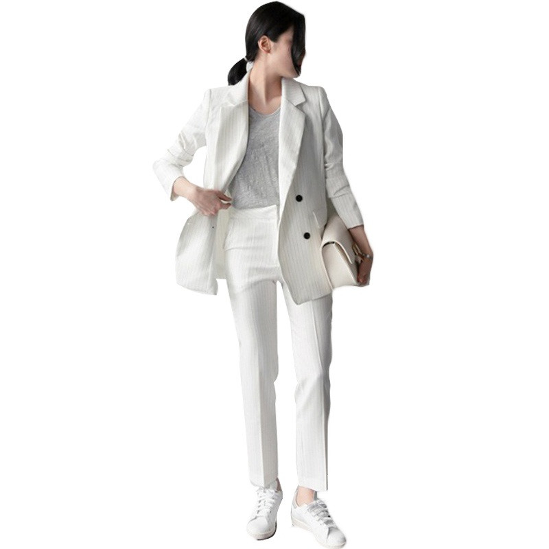 Striped-Pant-Suits-Women-Business-Formal-Office-Uniform-New-2016-White-Elegant-Womens-Suits-Blazer-With