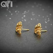 QYI Stud Earrings Women 18K Gold Jewelry Classic Yellow Gold Stud Earrings For Women Gift Box Wedding Earrings
