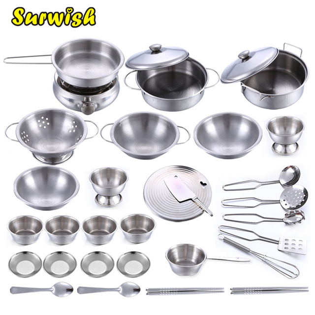 32Pcs Stainless Steel Kids Kitchen House Cooking Toy