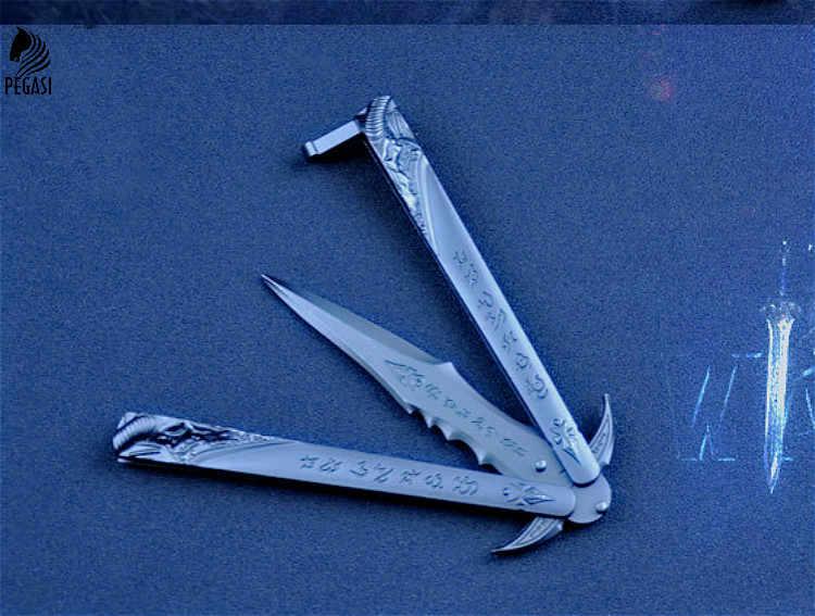 سكين فراشة PEGASI في سكين مطلي بالتيتانيوم لتدريب الطي على شكل فراشة غير حادة سكين فراشة أبيض باليسونج لا Scre
