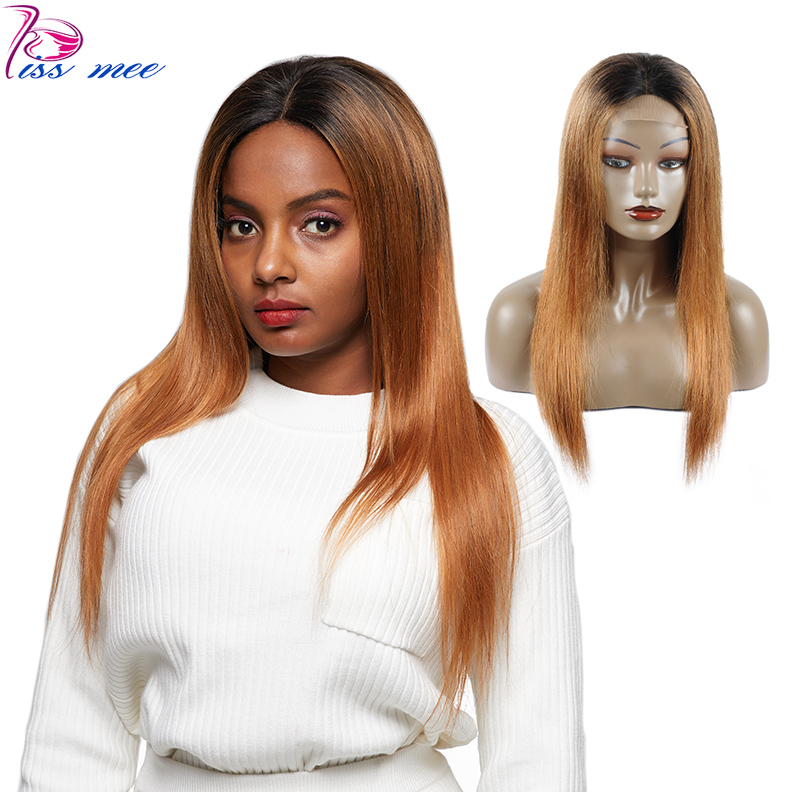 Lace Wigs Temperate Kissmee Ombre Human Hair Wig Brazilian Straight Lace Front Human Hair Wig With Baby Hair Remy Hair 1b#30 Bob Lace Front Wigs 2019 Official