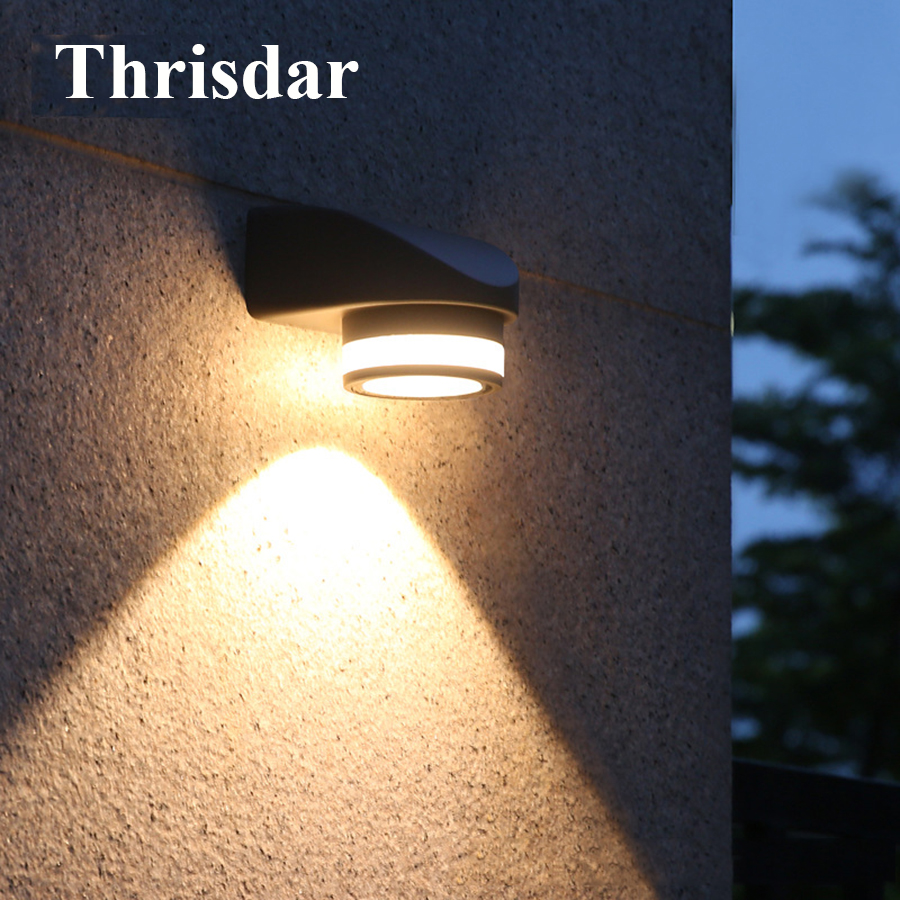 Thrisdar 5 Вт один руководитель открытый светодиодный настенный светильник Водонепроницаемый вилла Patio коридор крыльцо Настенный светильник т... ...