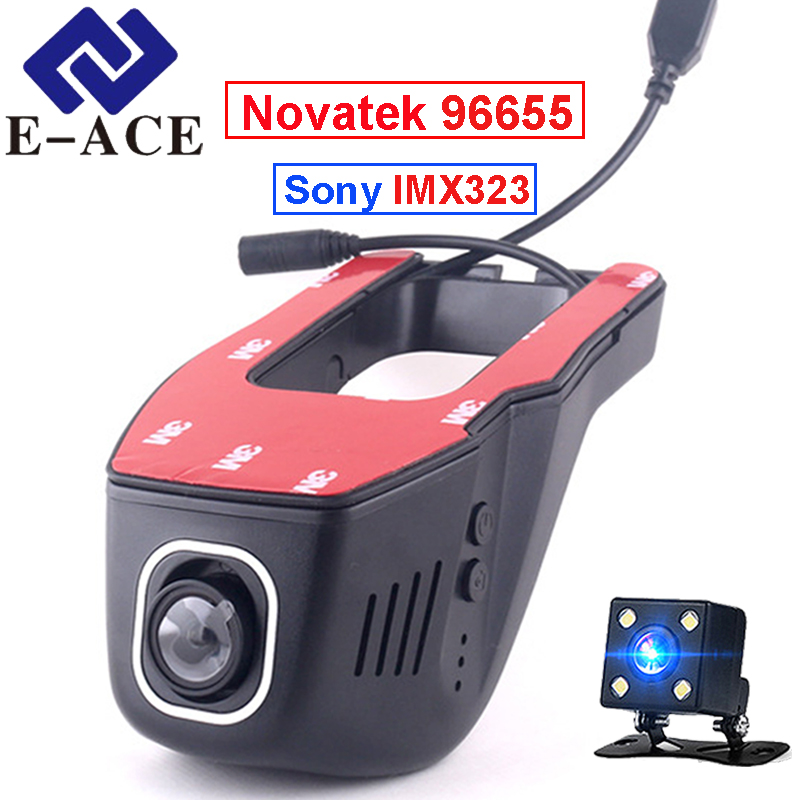 E-ACE Oculta Mini Cámara Wifi Auto Grabador de Vídeo Registrator Coche Dashcam Novatek 96655 SONY IMX 323 Noche Full HD 1080 P Coche Dvr