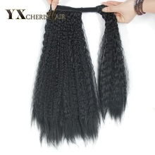 """YXCHERISHAIR 1"""" 150 г чёрный; коричневый хвостики длинные странный прямо Обёрточная бумага вокруг синтетической магические хвостики парики расширения"""