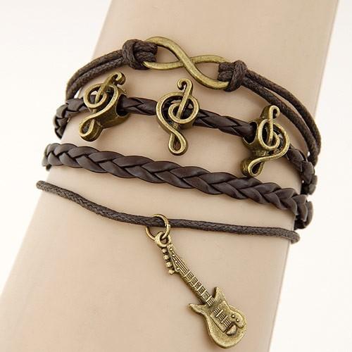 Leather Charm Bracelet - brown music