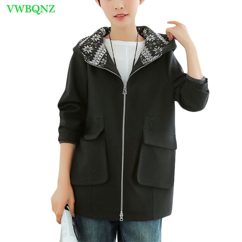 Korean Women Loose Windbreaker coat Spring Autumn High quality Plus size   Trench   coats Women's Casual Hooded Overcoats 5XL A192