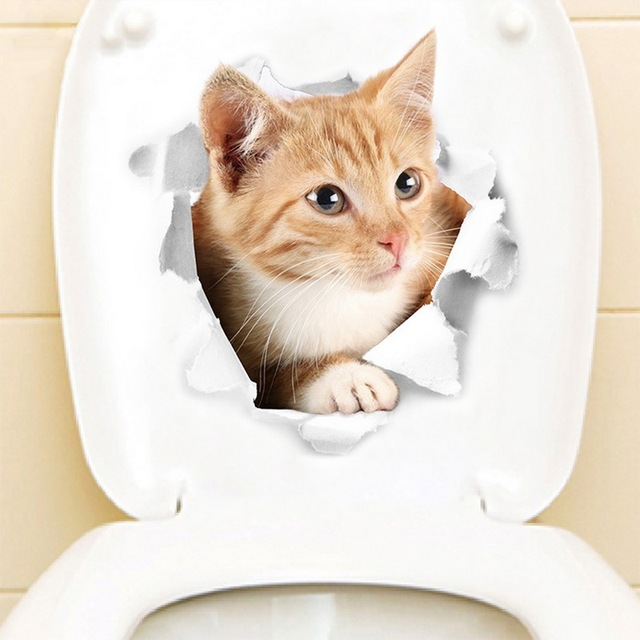 Cartoon Animal 3D Toilet Stickers on the Toilet Seat Cute Cats PVC Wall Sticker Stickers Decals Bathroom Refrigerator Door Deco