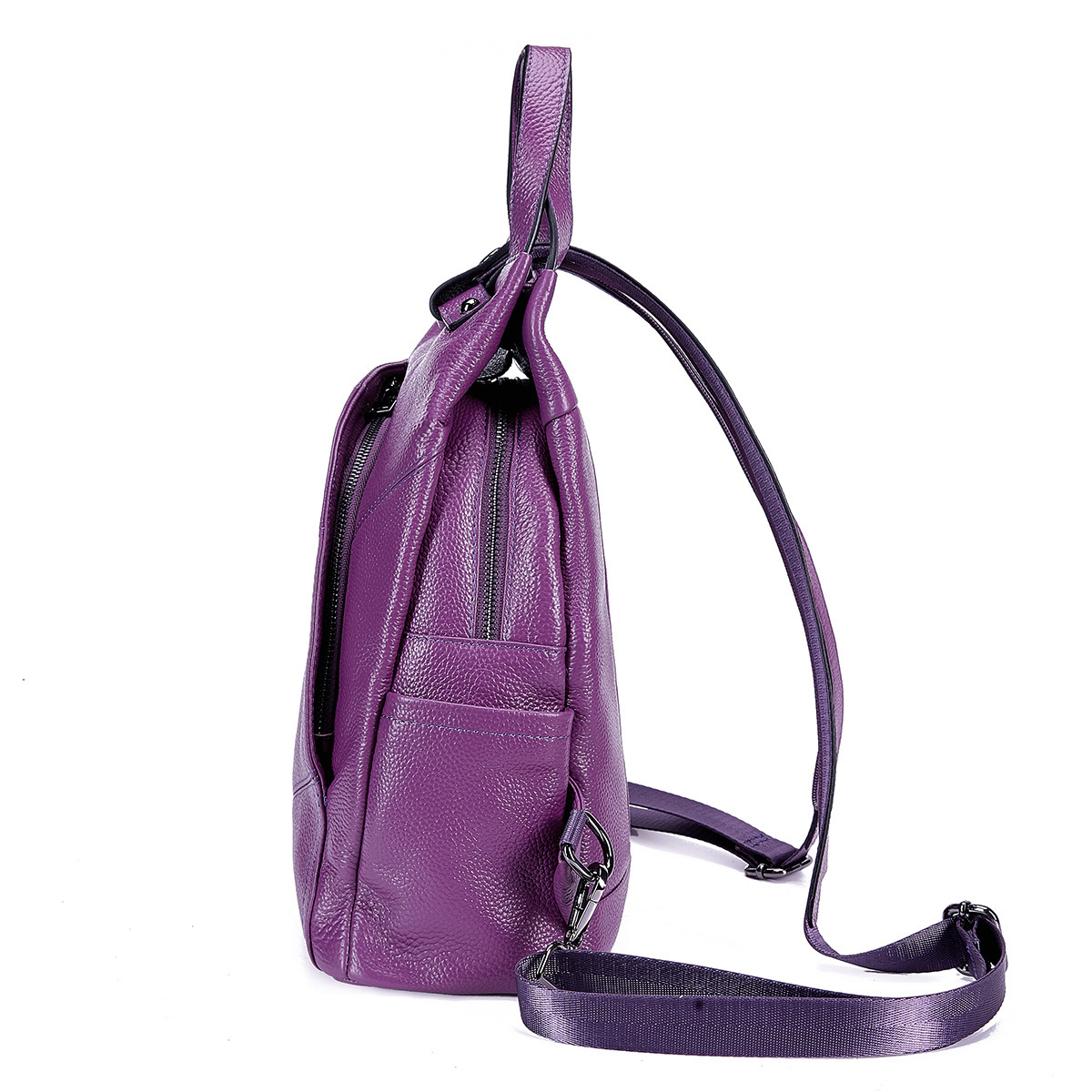 BONAMIE Purple Genuine Leather Backpack Women Brand School Backpack Real Leather Female Mochila Shoulder Bags For Teenage Girls-in Backpacks from Luggage & Bags    2