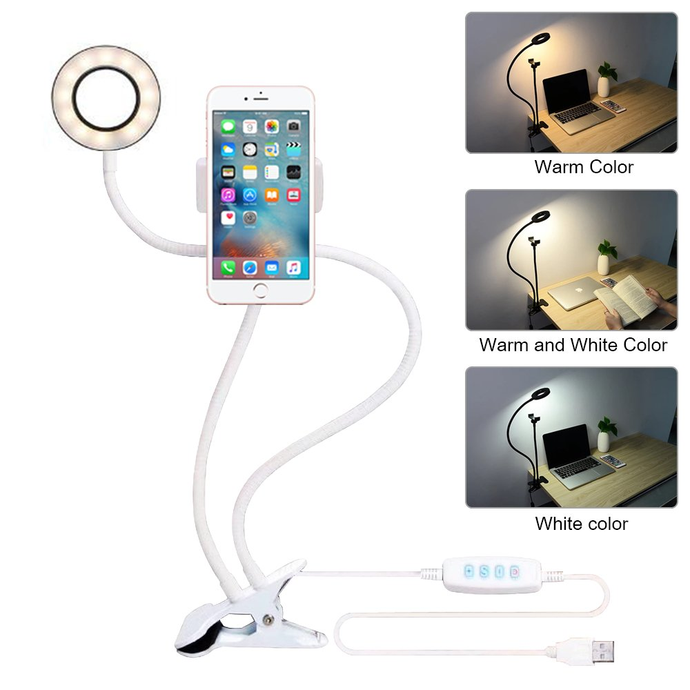Photography Dimmable LED Selfie Ring Light Youtube Video Live Photo Studio Light With Phone Holder USB Plug Tripod