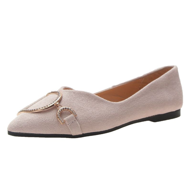 Ballet Flats Shoes Woman Metal Chain Ladies Shoe Zapatillas Mujer 2019   Suede     Leather   Slip On Flat Shoes For Women