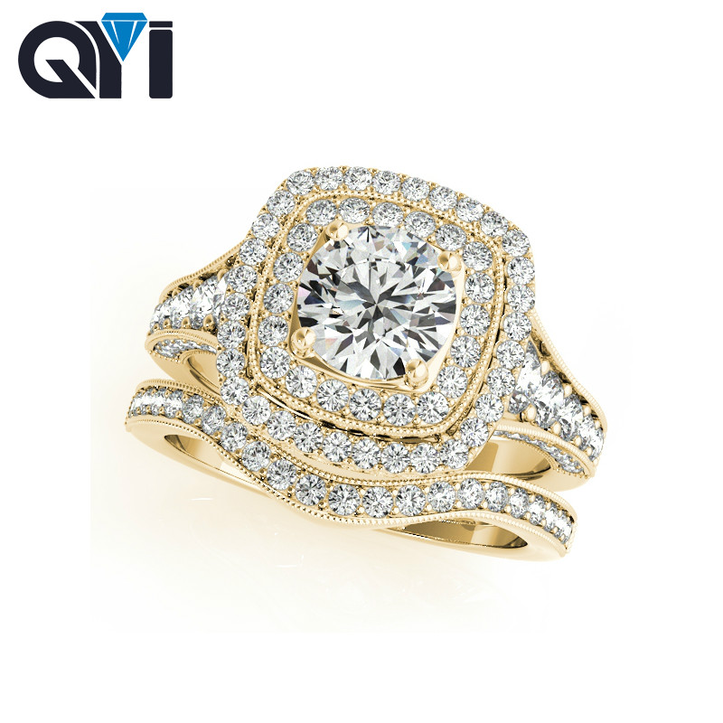 QYI Jewelry 925 Sterling Silver 1ct 5A Cubic Zirconia Engagement Ring Sets Luxury Finger Ring Fashion Jewelry For Women