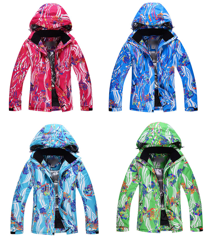NEW Arrived  Colorful Flower Ladies Snowboard Suit 10K waterproof Women Skiing Jacket Winter Warm Snow Suit Over Coat