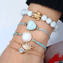 Hot 5 Pcs/set Bohemian Crab Turtle Heart Gem Stone Beads Woven Bracelet Set Women Charm Jewelry Accessories Mothers Gift
