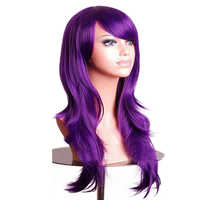 Soowee 70cm Long Wavy Purple Wigs Hairpieces Synthetic Hair Female Brown Pink Cosplay Wig for Women