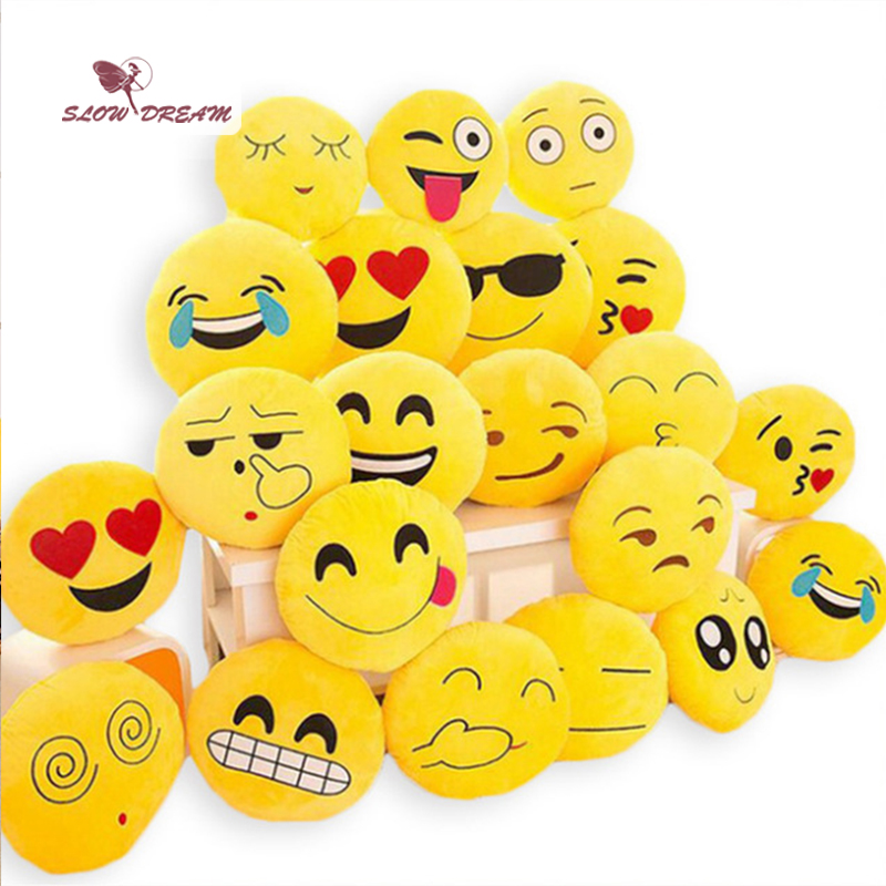 SlowDream Cute Emoji Cushion Home Smiley Face Pillow Stuffed By Toy Soft Plush A Variety Of Expressions 32cmx32cm Size