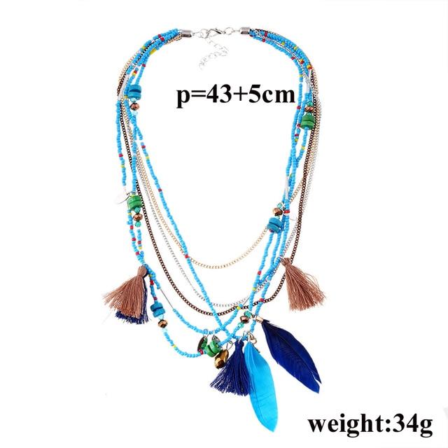 Фото ожерелья naomy & zp в богемном стиле с разноцветными перьями цена
