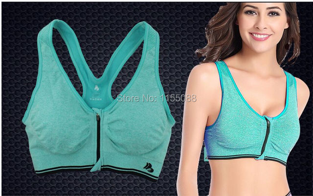 50pcs/lot Women Seamless Bra Push up Fitness Clothing ropa deportiva Top Front Zipper Padded Tank Top Bra
