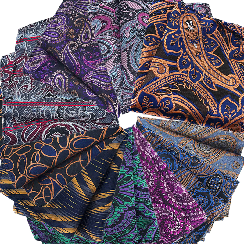Luxury Men's Pocket Square 25CM Handkerchief Stripes Floral Paisley Hanky Men Suit Chest Towel Accessories For Wedding Party