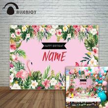 Allenjoy тропический стиль цветы с Фламинго день рождения фон на заказ фон для фотосессии