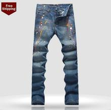 Autumn slim Color ink mens jeans 1 denim Feet trousers man straight personalized luxury brand fashion
