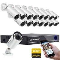 DEFEWAY 16CH 1080 P AHD DVR Kit 16x1080 P 2000TVL Nuit Vision Intempéries En Plein Air Intérieur Vidéo Caméra de Sécurité CCTV Système