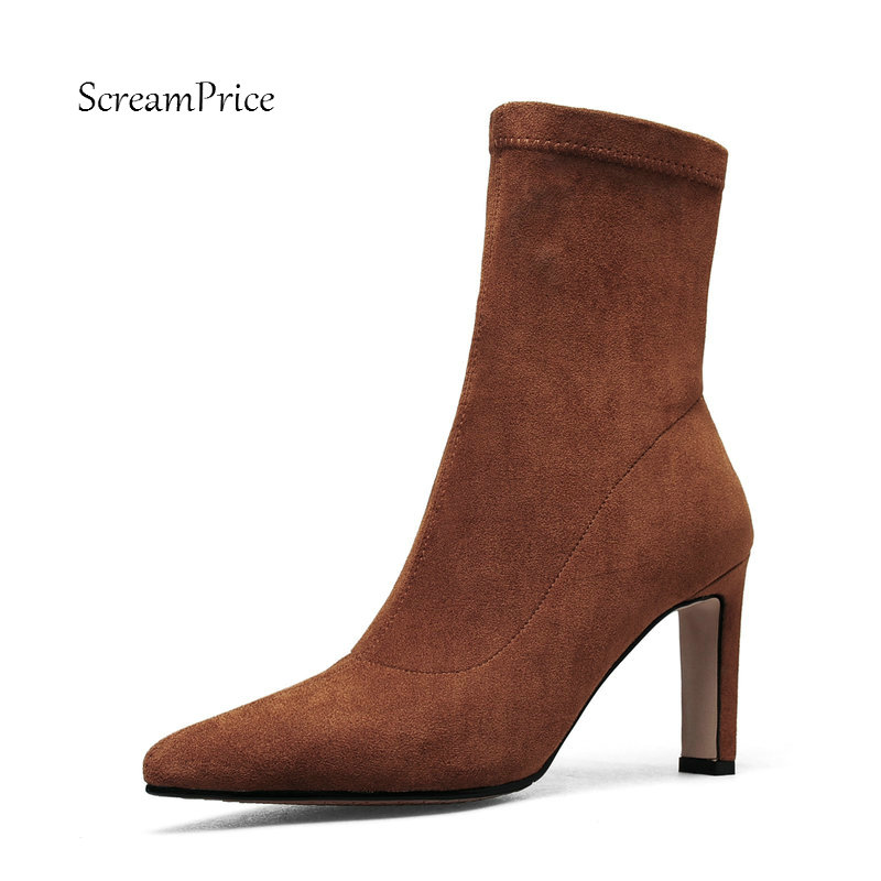 Female Suede Sexy Thin High Heel Ankle Boots Fashion Pointed Toe Slip On Fall Winter Shoes Black Brown Gray female pu leather thick high heel chelsea boots fashion slip on round toe women warm winter ankle boots black brown gray