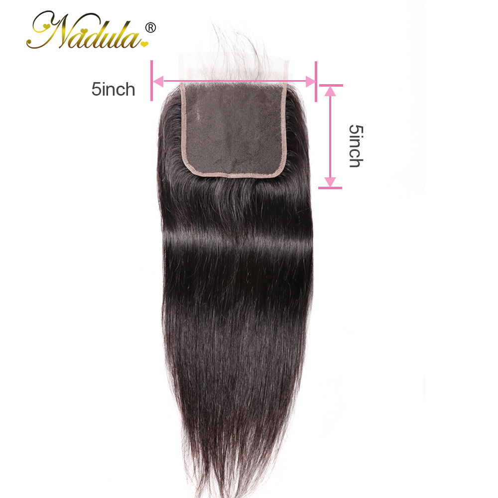 Nadula Human Hair Closure 5*5 Straight Closure 8-18inch Lace Closure Brazilian Remy Hair Swiss Lace Closure Natural Color