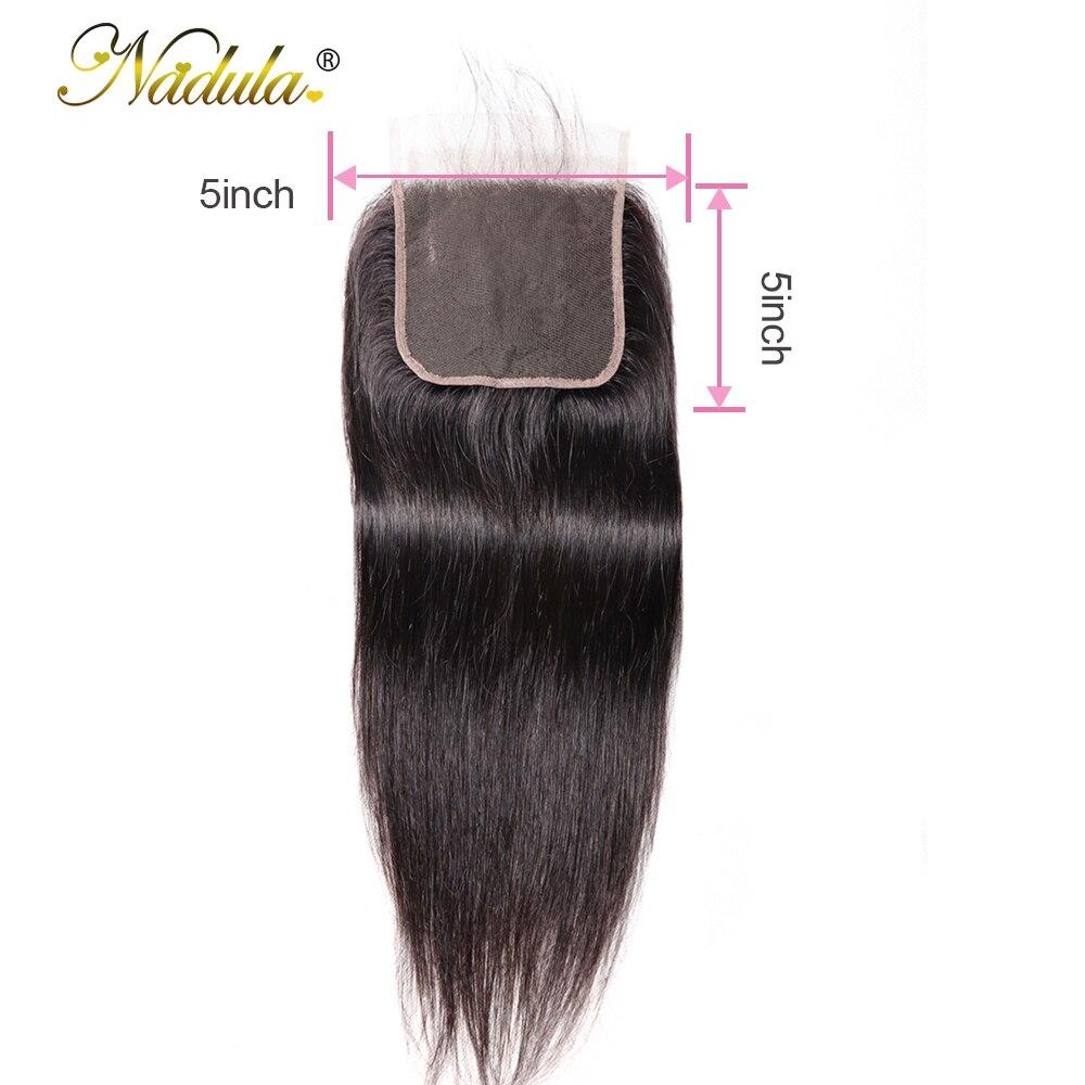 Nadula uzupełnienie splotu ludzkich włosów 5*5 prosto zamknięcie 8 18 cal koronka zamknięcie brazylijski Remy włosy zamknięcie szwajcarskiej koronki naturalne kolor w Zapięcia od Przedłużanie włosów i peruki na AliExpress - 11.11_Double 11Singles' Day 1