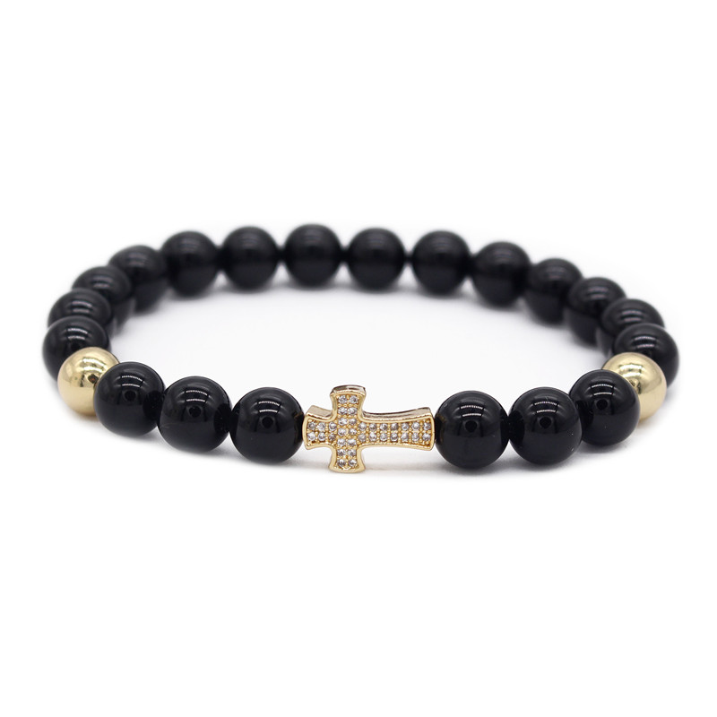Gold Cross Shaped Cubic Zirconia Charm Bracelets Black Natural Stone Beads Bracelet for Men Jewelry MBR180219