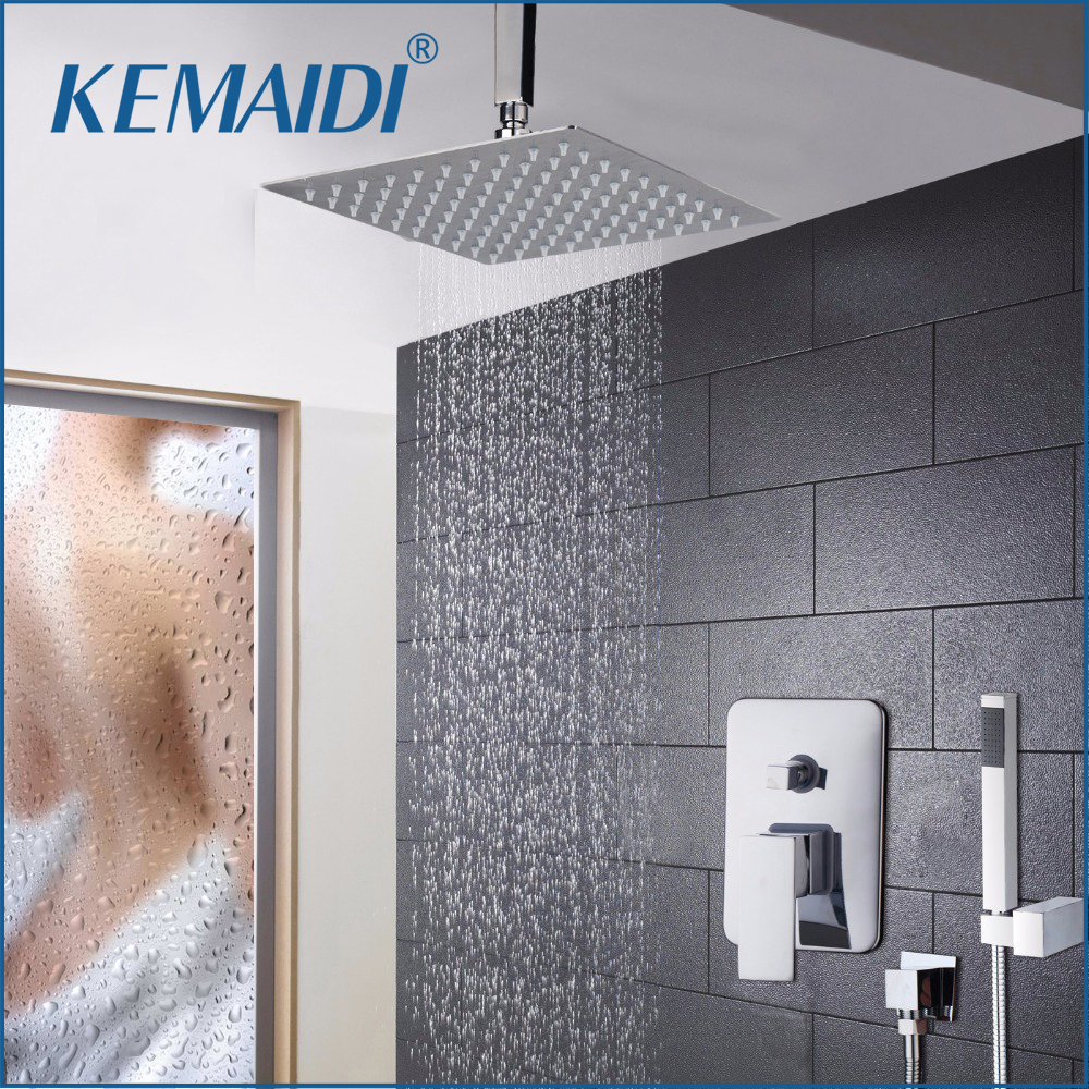 KEMAIDI LED 8 12 16 Inch Swivel Shower Head Bath Shower Faucet Set Chrome Finish Waterfall Rain Shower Set Faucets Shower