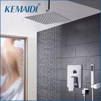 KEMAIDI LED 8 12 16 Inch Swivel Shower Head Bath Shower Faucet Set Chrome Finish Waterfall Rain Shower Set Faucets Shower